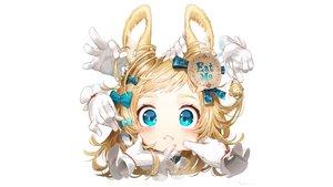 Rating: Safe Score: 44 Tags: animal_ears aqua_eyes blonde_hair bow bunny_ears bunnygirl gloves hakura_kusa original ribbons signed white User: Hakha