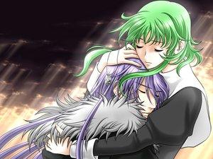Rating: Safe Score: 11 Tags: gumi hug kamui_gakupo male vocaloid User: HawthorneKitty