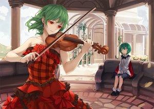 Rating: Safe Score: 61 Tags: 2girls asutora blush bow cape couch dress green_eyes green_hair instrument kazami_yuuka red_eyes short_hair socks touhou violin wriggle_nightbug User: otaku_emmy