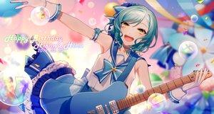 Rating: Safe Score: 38 Tags: asd13 bang_dream! blush bow braids bubbles choker gloves green_eyes green_hair guitar hikawa_hina instrument seifuku short_hair skirt User: otaku_emmy