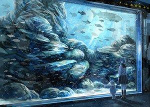 Rating: Safe Score: 64 Tags: animal fish kneehighs nomiya_(no_38) original polychromatic school_uniform short_hair teddy_bear underwater water User: FormX