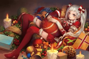 Rating: Safe Score: 82 Tags: bell boots bow christmas food fruit gray_eyes lolita_fashion long_hair malu_(maluaya) original thighhighs twintails white_hair User: Flandre93