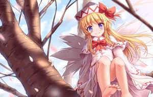 Rating: Safe Score: 12 Tags: barefoot blonde_hair blush bow clouds dress fairy hat lily_white long_hair lzh petals purple_eyes sky touhou tree wings User: RyuZU