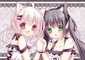Rating: Safe Score: 145 Tags: 2girls animal_ears black_hair blush catgirl fang green_eyes original pink_eyes pink_hair tsuki_nxo twintails User: FormX