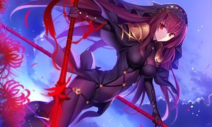 Rating: Safe Score: 189 Tags: armor bodysuit breasts fate/grand_order fate_(series) flowers fuyuki_(neigedhiver) headdress long_hair purple_hair red_eyes scathach_(fate/grand_order) skintight spear weapon User: RyuZU