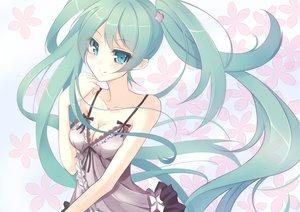 Rating: Safe Score: 81 Tags: breasts cleavage dress flowers hatsune_miku kisaichi_jin long_hair vocaloid User: HawthorneKitty