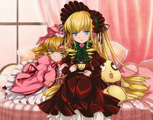 Rating: Safe Score: 31 Tags: bed blonde_hair blue_eyes bow green_eyes hina_ichigo kunkun long_hair rozen_maiden shinku User: HawthorneKitty