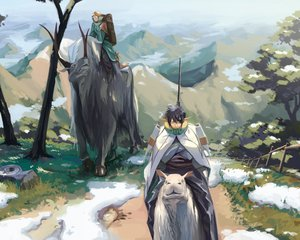 Rating: Safe Score: 49 Tags: all_male animal black_hair blonde_hair boots glasses landscape male original pixiv_fantasia pointed_ears rai32019 scenic short_hair snow tree User: C4R10Z123GT