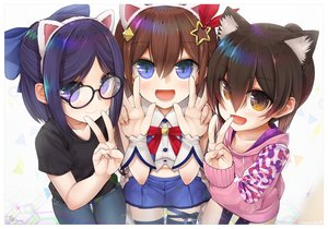Rating: Safe Score: 32 Tags: animal_ears blue_hair bow brown_eyes brown_hair glasses headband loli purple_eyes ribbons roboco_ch. roboco-san short_hair signed skirt tanyatonya thighhighs tokino_sora tokino_sora_channel watermark yuujin_a User: RyuZU