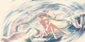 Rating: Safe Score: 62 Tags: hatsune_miku long_hair shuryukan sky twintails vocaloid white_hair User: luckyluna