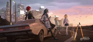 Rating: Safe Score: 70 Tags: animal animal_ears arknights bird blonde_hair blue_eyes blue_hair building car city clouds croissant_(arknights) exusiai_(arknights) group halo hoodie kryp132 logo long_hair orange_hair pantyhose red_hair scenic short_hair skirt sky sora_(arknights) sunset texas_(arknights) watermark wings wolfgirl User: mattiasc02