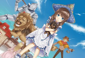 Rating: Safe Score: 97 Tags: animal blue_eyes brown_hair cowardly_lion dorothy_gale dress hat heirou lion long_hair scarecrow_(the_wizard_of_oz) tagme the_wizard_of_oz tin_man toto User: opai