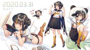 Rating: Safe Score: 40 Tags: black_hair blush braids brown_eyes cape game_console ji_dao_ji kneehighs original panties short_hair skirt twintails underwear User: RyuZU