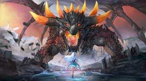 Rating: Safe Score: 37 Tags: aqua_hair dragon horns long_hair original polskash sword water weapon wings User: RyuZU
