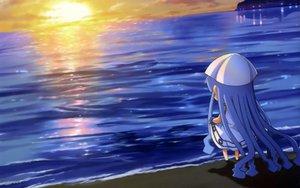 Rating: Safe Score: 39 Tags: chibi ikamusume shinryaku!_ikamusume sunset water User: meccrain