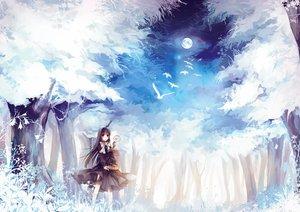 Rating: Safe Score: 57 Tags: animal bird bow cage dress forest long_hair moon night original purple_hair red_eyes sinsora sky tree User: BattlequeenYume