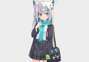 Rating: Safe Score: 48 Tags: animal_ears aqua_eyes blue_archive foxgirl gloves gray_hair halo long_hair scarf school_uniform skirt sunaookami_shiroko tie zoirun User: otaku_emmy