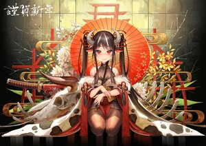 Rating: Safe Score: 62 Tags: animal_ears black_hair blush bodysuit cowgirl horns japanese_clothes katana long_hair okuma_mai original pantyhose red_eyes skull sword twintails umbrella weapon User: BattlequeenYume
