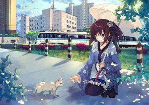 Rating: Safe Score: 43 Tags: animal blue_eyes braids brown_hair building cat city clouds japanese_clothes lolita_fashion original ribbons scenic shade short_hair sky tagme_(artist) train umbrella User: RyuZU