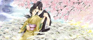 Rating: Safe Score: 23 Tags: black_hair brown_eyes cherry_blossoms flowers hakuouki_shinsengumi_kitan japanese_clothes kimono petals saitou_hajime yukimura_chizuru User: HawthorneKitty