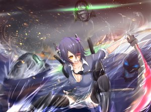 Rating: Safe Score: 85 Tags: anthropomorphism breasts brown_eyes cleavage eyepatch fire gloves kantai_collection katana purple_hair short_hair skirt sword tagme_(artist) tenryuu_(kancolle) thighhighs tie water weapon wo-class_aircraft_carrier User: kokiriloz