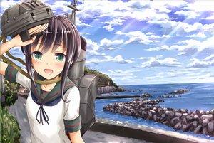 Rating: Safe Score: 74 Tags: black_hair blush clouds fubuki_(kancolle) green_eyes kantai_collection long_hair saz scenic seifuku sky water User: Flandre93