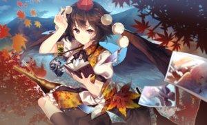 Rating: Safe Score: 118 Tags: aliasing autumn book brown_hair camera hakurei_reimu hat inubashiri_momiji kirisame_marisa kneehighs leaves red_eyes shameimaru_aya short_hair touhou uu_uu_zan wings User: luckyluna