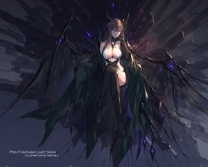 Rating: Safe Score: 172 Tags: breasts brown_hair cleavage gloves horns long_hair original pixiv_fantasia purple_eyes swd3e2 thighhighs watermark wings User: RyuZU