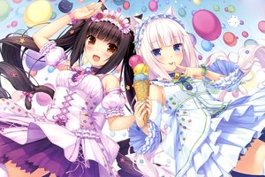 Rating: Safe Score: 464 Tags: 2girls animal_ears bell black_hair blue_eyes brown_eyes catgirl chocola_(sayori) choker dress headdress ice_cream lolita_fashion long_hair nekopara sayori scan tail thighhighs vanilla_(sayori) white_hair wristwear User: Dummy