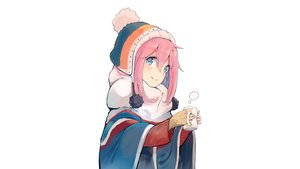 Rating: Safe Score: 36 Tags: blush kagamihara_nadeshiko long_hair nasuno_chiyo photoshop pink_hair scarf white yuru_camp User: rinrinrin
