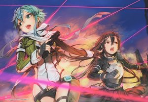 Rating: Safe Score: 34 Tags: bodysuit brown_hair clouds gloves green_eyes green_hair gun gun_gale_online long_hair male mikazuki_akira red_eyes scarf shinon_(sao) short_hair skirt sky sword_art_online trap weapon User: BattlequeenYume