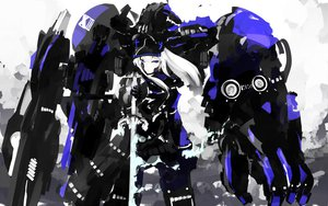 Rating: Safe Score: 66 Tags: armor long_hair mecha monochrome purple_eyes skirt sword tone_g weapon white_hair User: Katsumi
