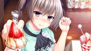 Rating: Safe Score: 40 Tags: blush brown_eyes brown_hair close food fruit game_cg ice_cream iyashi_no_megami_no_marmot kurosaki_sachie mochio noe_noeru ribbons shirokuma_dango strawberry twintails User: RyuZU