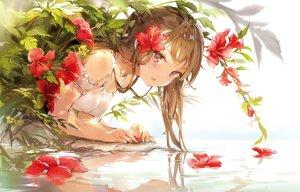 Rating: Safe Score: 143 Tags: anmi brown_hair cropped flowers long_hair original pink_eyes ponytail reflection scan water User: BattlequeenYume