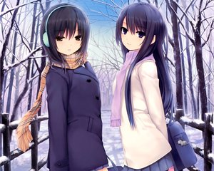 Rating: Safe Score: 308 Tags: 2girls aoyama_sumika black_hair brown_eyes coffee-kizoku cropped earmuffs long_hair original purple_eyes scan scarf seifuku shiramine_rika short_hair snow tree User: Wiresetc