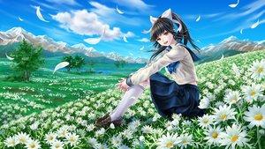 Rating: Safe Score: 57 Tags: black_hair bow clouds flowers fujita_(sodasuitunes) grass kneehighs landscape long_hair love_plus petals ponytail scenic seifuku skirt sky takane_manaka tree User: gnarf1975