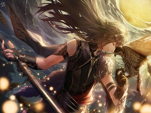 Rating: Safe Score: 40 Tags: all_male animal bird braids brown_hair clouds long_hair male moonlight_blade signed sky tagme_(character) tanzzi wings User: RyuZU