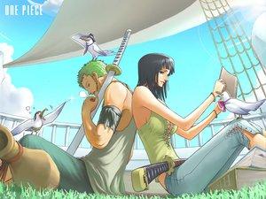 Rating: Safe Score: 111 Tags: animal bird black_hair green_hair katana nico_robin one_piece roronoa_zoro sword weapon User: haru3173