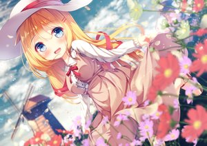 Rating: Safe Score: 72 Tags: akai_haato blonde_hair blue_eyes blush chinomaron clouds dress flowers hat hololive long_hair ribbons skirt_lift sky windmill User: sadodere-chan