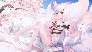 Rating: Safe Score: 109 Tags: animal animal_ears blush breasts cherry_blossoms cleavage clouds drink flowers fox foxgirl japanese_clothes multiple_tails original pink_eyes sky somna spring tail thighhighs white_hair zettai_ryouiki User: BattlequeenYume