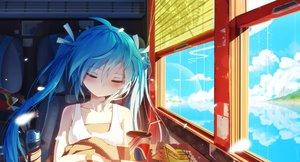 Rating: Safe Score: 92 Tags: aqua_hair bai_yemeng clouds drink food hatsune_miku long_hair reflection sky sleeping train twintails vocaloid water User: FormX