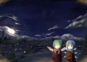 Rating: Safe Score: 40 Tags: 2girls blue_hair bow cirno daiyousei fairy gloves green_hair moon naminigo night scarf short_hair snow stars touhou wings User: C4R10Z123GT