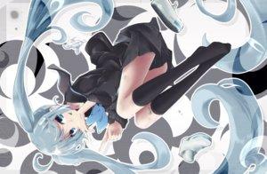 Rating: Safe Score: 29 Tags: akino_coto bandaid blue_eyes blue_hair cropped hatsune_miku kneehighs long_hair school_uniform skirt twintails vocaloid User: otaku_emmy