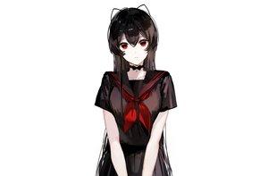 Rating: Safe Score: 74 Tags: bell black_hair bow choker long_hair naru_(ul) original polychromatic red_eyes school_uniform skirt third-party_edit white User: otaku_emmy