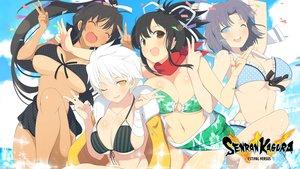 Rating: Questionable Score: 303 Tags: asuka_(senran_kagura) bikini breasts cleavage dark_skin homura_(senran_kagura) miyabi_(senran_kagura) senran_kagura swimsuit tan_lines underboob water wink yaegashi_nan yumi_(senran_kagura) User: RyuZU