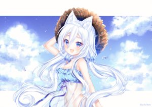 Rating: Safe Score: 70 Tags: animal_ears blue_eyes blush breasts catgirl cleavage dress hat long_hair nami_(nyaa) navel original ribbons see_through sky twintails watermark white_hair User: 蕾咪