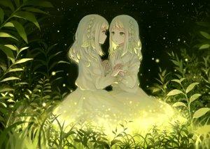Rating: Safe Score: 50 Tags: 2girls dress grass green green_eyes original pabo short_hair tears twins white_hair User: otaku_emmy