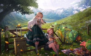 Rating: Safe Score: 108 Tags: 2girls angel animal bicycle bird blonde_hair cake flowers food fruit grass halo headband headdress kneehighs landscape lentain lolita_fashion long_hair orange_eyes original rabbit scenic shirt shorts skirt strawberry tree User: Dreista