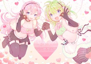 Rating: Safe Score: 42 Tags: 2girls amakawatamawono blue_eyes breasts choker cleavage earmuffs elbow_gloves gloves green_hair gumi happy_synthesizer_(vocaloid) heart long_hair megurine_luka microphone navel pantyhose pink_hair short_hair skirt stockings vocaloid wristwear User: mattiasc02