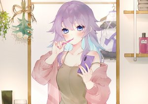 Rating: Safe Score: 50 Tags: blue_eyes bora_nun chiyomaru_(yumichiyo0606) close long_hair nijisanji phone purple_hair User: BattlequeenYume